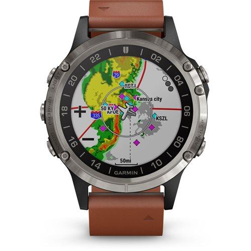 Montre de pilote GPS D2 Delta avec bracelet en cuir de Garmin