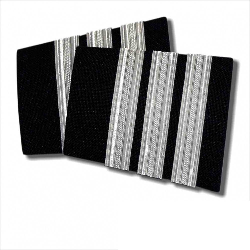 Navy Epaulet - 3 Bar Silver