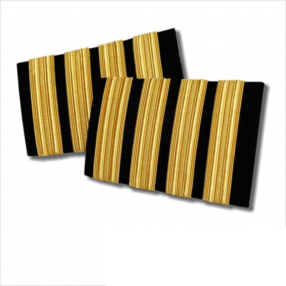 Pilot Epaulets Black - 4 Bar Gold